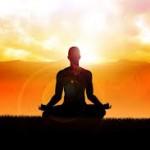 meditating in sunset